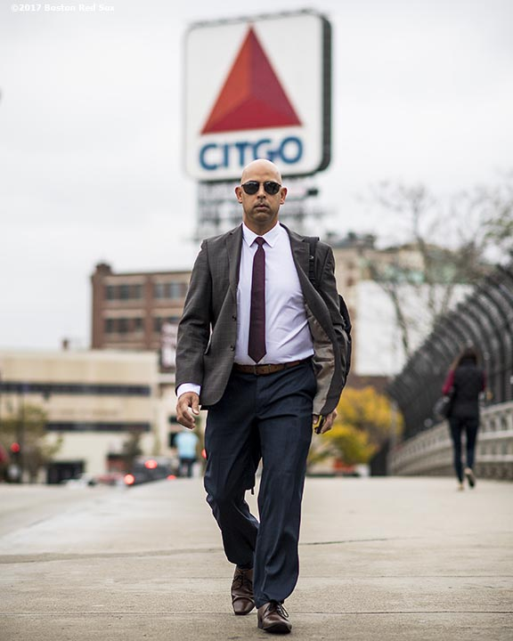 BOSTON, MA - NOVEMBER 6: Alex Cora walks to the stadium before a press conference introducing him as the next manager of the Boston Red Sox on November 6, 2017 at Fenway Park in Boston, Massachusetts. (Photo by Billie Weiss/Boston Red Sox/Getty Images) *** Local Caption *** Alex Cora