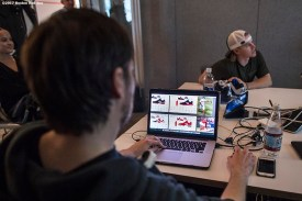 November 9, 2017, Boston, MA: Boston Red Sox infielder Brock Holt participates in a custom cleat design meeting during a visit to the New Balance Headquarters in Boston, Massachusetts Wednesday, November 9, 2017. (Photo by Billie Weiss/Boston Red Sox)