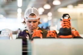 November 9, 2017, Boston, MA: Boston Red Sox infielder Brock Holt participates in a custom cleat design meeting with his during a visit to the New Balance Headquarters in Boston, Massachusetts Wednesday, November 9, 2017. (Photo by Billie Weiss/Boston Red Sox)