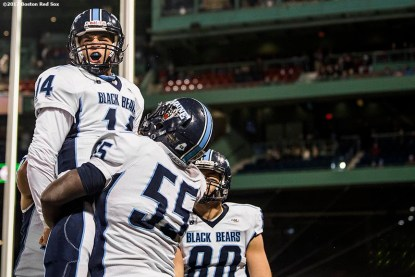 November 11, 2017, Boston, MA: Game action during a game between University of Massachusetts and University of Maine during the Fenway Gridiron Series presented by Your Call Football at Fenway Park in Boston, Massachusetts Saturday, November 11, 2017. (Photo by Billie Weiss/Boston Red Sox)