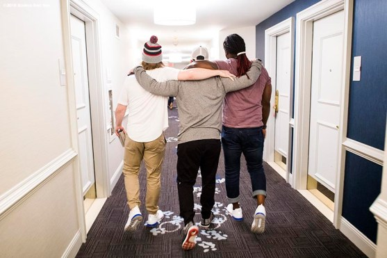 January 20, 2018, Ledyard, CT: Boston Red Sox infielder Brock Holt, left fielder Andrew Benintendi, and designated hitter Hanley Ramirez walk through the hallway during the 2018 Red Sox Winter Weekend at Foxwoods Resort & Casino in Ledyard, Connecticut Friday, January 20, 2018. (Photo by Billie Weiss/Boston Red Sox)