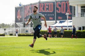FT. MYERS, FL - FEBRUARY 13: Rick Porcello #22 of the Boston Red Sox runs sprints during a team workout on February 13, 2018 at Fenway South in Fort Myers, Florida . (Photo by Billie Weiss/Boston Red Sox/Getty Images) *** Local Caption *** Rick Porcello
