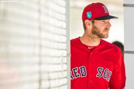 FT. MYERS, FL - MARCH 4: Chris Sale #41 of the Boston Red Sox walks onto the field in a simulated game during a team workout on March 4, 2018 at Fenway South in Fort Myers, Florida . (Photo by Billie Weiss/Boston Red Sox/Getty Images) *** Local Caption *** Chris Sale