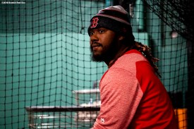 BOSTON, MA - APRIL 5: Hanley Ramirez #13 of the Boston Red Sox looks on before the Opening Day game against the Tampa Bay Rays on April 5, 2018 at Fenway Park in Boston, Massachusetts. (Photo by Billie Weiss/Boston Red Sox/Getty Images) *** Local Caption *** Hanley Ramirez