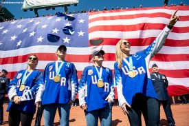 BOSTON, MA - APRIL 5: Meghan Duggan, Brianna Decker, Kacey Bellamy, and Amanda Pelkey of the United States Women's Olympic Hockey team are introduced before the the Opening Day game between the Boston Red Sox and the Tampa Bay Rays on April 5, 2018 at Fenway Park in Boston, Massachusetts. (Photo by Billie Weiss/Boston Red Sox/Getty Images) *** Local Caption *** Meghan Duggan; Brianna Decker; Kacey Bellamy; Amanda Pelkey