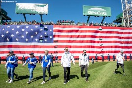 BOSTON, MA - APRIL 5: Meghan Duggan, Brianna Decker, Kacey Bellamy, and Amanda Pelkey of the United States Women's Olympic Hockey team, Olympic Luge silver medalist Chris Mazdzer, Nordic skiing Paralympic Silver Medalist Jake Adicoff, and Nordic skiing Paralympic Medalist Dan Cnossen of the United States are introduced before the Opening Day game between the Boston Red Sox and the Tampa Bay Rays on April 5, 2018 at Fenway Park in Boston, Massachusetts. (Photo by Billie Weiss/Boston Red Sox/Getty Images) *** Local Caption *** Dan Cnossen; Jake Adicoff; Chris Mazdzer; Amanda Pelkey, Kacey Bellamy, Brianna Decker, Meghan Duggan