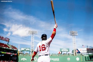 BOSTON, MA - APRIL 7: Andrew Benintendi #16 of the Boston Red Sox warms up during the first inning of a game against the Tampa Bay Rays on April 7, 2018 at Fenway Park in Boston, Massachusetts. (Photo by Billie Weiss/Boston Red Sox/Getty Images) *** Local Caption *** Andrew Benintendi