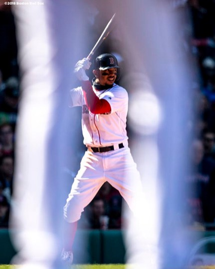 BOSTON, MA - APRIL 7: Mookie Betts #50 of the Boston Red Sox bats during the sixth inning of a game against the Tampa Bay Rays on April 7, 2018 at Fenway Park in Boston, Massachusetts. (Photo by Billie Weiss/Boston Red Sox/Getty Images) *** Local Caption *** Mookie Betts