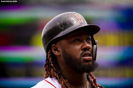 BOSTON, MA - APRIL 14: Hanley Ramirez #13 of the Boston Red Sox looks on during the first inning of a game against the Baltimore Orioles on April 14, 2018 at Fenway Park in Boston, Massachusetts. (Photo by Billie Weiss/Boston Red Sox/Getty Images) *** Local Caption *** Hanley Ramirez