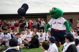 SPRINGFIELD, MA. - APRIL 27: Boston Red Sox mascot Wally the Green Monster greets kids during a Major League Baseball Play Ball event on Friday, April 27, 2018 at Berry-Allen Field at Springfield College in Springfield, Massachusetts. (Photo by Billie Weiss/MLB Photos via Getty Images) *** Local Caption ***