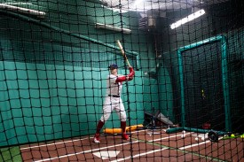 BOSTON, MA - APRIL 30: Andrew Benintendi #16 of the Boston Red Sox takes batting practice before a game against the Kansas City Royals on April 30, 2018 at Fenway Park in Boston, Massachusetts. (Photo by Billie Weiss/Boston Red Sox/Getty Images) *** Local Caption *** Andrew Benintendi