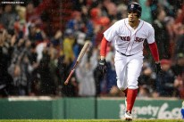 BOSTON, MA - APRIL 30: Xander Bogaerts #2 of the Boston Red Sox reacts after hitting a grand slam home run during the third inning of a game against the Kansas City Royals on April 30, 2018 at Fenway Park in Boston, Massachusetts. (Photo by Billie Weiss/Boston Red Sox/Getty Images) *** Local Caption *** Xander Bogaerts