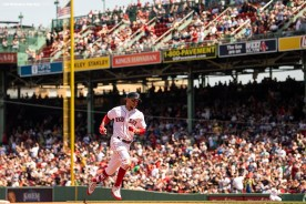 BOSTON, MA - MAY 2: Mookie Betts #50 of the Boston Red Sox rounds the bases after hitting a solo home run during the fourth inning of a game against the Kansas City Royals on May 2, 2018 at Fenway Park in Boston, Massachusetts. (Photo by Billie Weiss/Boston Red Sox/Getty Images) *** Local Caption *** Mookie Betts