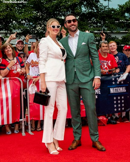 WASHINGTON, DC - JULY 17: Model Kate Upton and husband Justin Verlander #35 of the Houston Astros and the American League attend the 89th MLB All-Star Game, presented by MasterCard red carpet at Nationals Park on July 17, 2018 in Washington, DC. (Photo by Billie Weiss/Boston Red Sox/Getty Images) *** Local Caption *** Kate Upton; Justin Verlander
