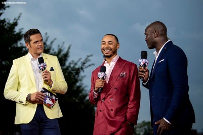 WASHINGTON, DC - JULY 17: Mookie Betts #50 of the Boston Red Sox speaks on MLB Network as he attends the 89th MLB All-Star Game, presented by MasterCard red carpet at Nationals Park Tuesday, July 17, 2018 in Washington, DC. (Photo by Billie Weiss/Boston Red Sox/Getty Images) *** Local Caption *** Mookie Betts