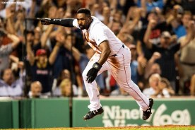 BOSTON, MA - AUGUST 2: Jackie Bradley Jr. #19 of the Boston Red Sox reacts after scoring after getting caught in a run down during the fourth inning of a game against the New York Yankees on August 2, 2018 at Fenway Park in Boston, Massachusetts. (Photo by Billie Weiss/Boston Red Sox/Getty Images) *** Local Caption *** Jackie Bradley Jr.
