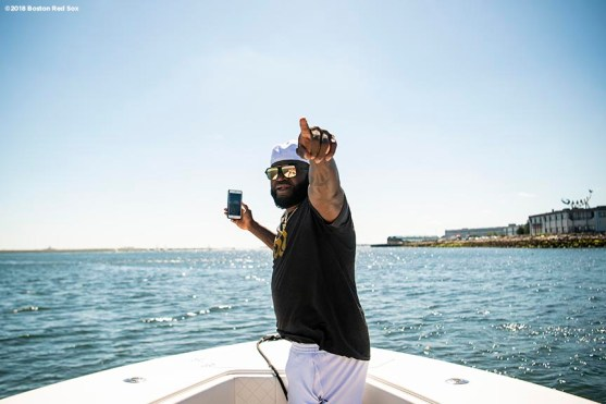 BOSTON, MA - AUGUST 2: Former designated hitter David Ortiz #34 of the Boston Red Sox reacts as he rides a boat during a visit to Camp harbor View on August 2, 2018 in Boston, Massachusetts. (Photo by Billie Weiss/Boston Red Sox/Getty Images) *** Local Caption *** David Ortiz