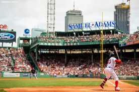 BOSTON, MA - AUGUST 19: Mookie Betts #50 of the Boston Red Sox bats during the first inning of a game against the Tampa Bay Rays on August 19, 2018 at Fenway Park in Boston, Massachusetts. (Photo by Billie Weiss/Boston Red Sox/Getty Images) *** Local Caption *** Mookie Betts
