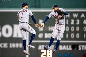 BOSTON, MA - SEPTEMBER 7: Carlos Correa #1 and George Springer #4 of the Houston Astros celebrate a victory against the Boston Red Sox on September 7, 2018 at Fenway Park in Boston, Massachusetts. (Photo by Billie Weiss/Boston Red Sox/Getty Images) *** Local Caption *** Carlos Correa; George Springer