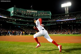 BOSTON, MA - SEPTEMBER 9: Mookie Betts #50 of the Boston Red Sox warms up before a game against the Houston Astros on September 9, 2018 at Fenway Park in Boston, Massachusetts. (Photo by Billie Weiss/Boston Red Sox/Getty Images) *** Local Caption *** Mookie Betts