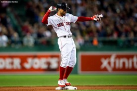 BOSTON, MA - SEPTEMBER 9: Mookie Betts #50 of the Boston Red Sox reacts after hitting a double during the first inning of a game against the Houston Astros on September 9, 2018 at Fenway Park in Boston, Massachusetts. (Photo by Billie Weiss/Boston Red Sox/Getty Images) *** Local Caption *** Mookie Betts