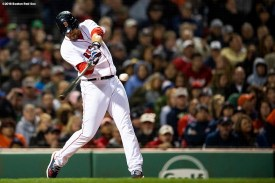BOSTON, MA - SEPTEMBER 9: J.D. Martinez #28 of the Boston Red Sox hits a three run home run during the fifth inning of a game against the Houston Astros on September 9, 2018 at Fenway Park in Boston, Massachusetts. (Photo by Billie Weiss/Boston Red Sox/Getty Images) *** Local Caption *** J.D. Martinez