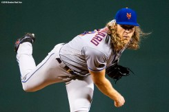 BOSTON, MA - SEPTEMBER 14: Noah Syndergaard #34 of the New York Mets delivers during the first inning of a game against the Boston Red Sox on September 14, 2018 at Fenway Park in Boston, Massachusetts. (Photo by Billie Weiss/Boston Red Sox/Getty Images) *** Local Caption *** Noah Syndergaard