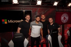 September 17, 2018, New York City, NY: Boston Red Sox designated hitter J.D. Martinez, pitcher Eduardo Rodriguez, shortstop Xander Bogaerts, and catcher Christian Vazquez pose for a photograph after playing video games during a visit to the Microsoft gaming studio in New York City, New York Monday, September 17, 2018. (Photo by Billie Weiss/Boston Red Sox)