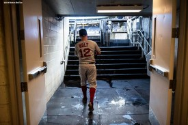 NEW YORK, NY - SEPTEMBER 18: Brock Holt #12 of the Boston Red Sox walks out of the clubhouse before a game against the New York Yankees on September 18, 2018 at Yankee Stadium in the Bronx borough of New York City. (Photo by Billie Weiss/Boston Red Sox/Getty Images) *** Local Caption *** Brock Holt