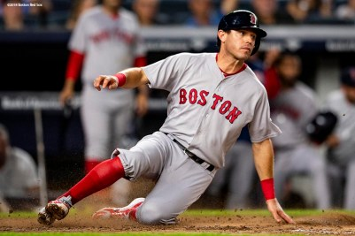 NEW YORK, NY - SEPTEMBER 18: Ian Kinsler #5 of the Boston Red Sox slides as he scores during the third inning of a game against the New York Yankees on September 18, 2018 at Yankee Stadium in the Bronx borough of New York City. (Photo by Billie Weiss/Boston Red Sox/Getty Images) *** Local Caption *** Ian Kinsler