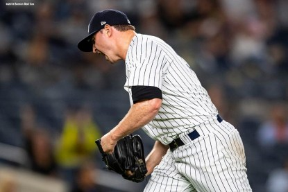 NEW YORK, NY - SEPTEMBER 18: Zach Britton #53 of the New York Yankees reacts after recording the final out during the ninth inning of a game against the Boston Red Sox on September 18, 2018 at Yankee Stadium in the Bronx borough of New York City. (Photo by Billie Weiss/Boston Red Sox/Getty Images) *** Local Caption *** Zach Britton