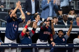 NEW YORK, NY - SEPTEMBER 20: David Price #24, Mitch Moreland #18, Steve Pearce #25, and Eduardo Nunez #36 of the Boston Red Sox react as runs score during the seventh inning of a game against the New York Yankees on September 20, 2018 at Yankee Stadium in the Bronx borough of New York City. (Photo by Billie Weiss/Boston Red Sox/Getty Images) *** Local Caption *** David Price; Mitch Moreland; Steve Pearce; Eduardo Nunez