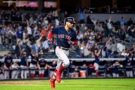 NEW YORK, NY - SEPTEMBER 20: Mookie Betts #50 of the Boston Red Sox rounds the bases after hitting a three run home run during the eighth inning of a game against the New York Yankees on September 20, 2018 at Yankee Stadium in the Bronx borough of New York City. (Photo by Billie Weiss/Boston Red Sox/Getty Images) *** Local Caption *** Mookie Betts