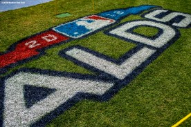 BOSTON, MA - OCTOBER 3: A logo is displayed on the field during a Boston Red Sox workout before the American League Division Series on October 3, 2018 at Fenway Park in Boston, Massachusetts. (Photo by Billie Weiss/Boston Red Sox/Getty Images) *** Local Caption ***