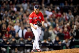 BOSTON, MA - OCTOBER 5: Craig Kimbrel #46 of the Boston Red Sox reacts after recording the final out in the ninth inning of game one of the American League Division Series against the New York Yankees on October 5, 2018 at Fenway Park in Boston, Massachusetts. (Photo by Billie Weiss/Boston Red Sox/Getty Images) *** Local Caption *** Craig Kimbrel