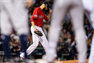 BOSTON, MA - OCTOBER 6: David Price #24 of the Boston Red Sox reacts as he exits the game during the second inning of game two of the American League Division Series against the New York Yankees on October 6, 2018 at Fenway Park in Boston, Massachusetts. (Photo by Billie Weiss/Boston Red Sox/Getty Images) *** Local Caption *** David Price