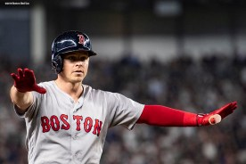 NEW YORK, NY - OCTOBER 8: Brock Holt #12 of the Boston Red Sox reacts after hitting an RBI triple during the fourth inning of game three of the American League Division Series against the New York Yankees on October 8, 2018 at Yankee Stadium in the Bronx borough of New York City. (Photo by Billie Weiss/Boston Red Sox/Getty Images) *** Local Caption *** Brock Holt