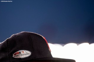 NEW YORK, NY - OCTOBER 9: A hat of the Boston Red Sox is shown before game four of the American League Division Series against the New York Yankees on October 9, 2018 at Yankee Stadium in the Bronx borough of New York City. (Photo by Billie Weiss/Boston Red Sox/Getty Images) *** Local Caption ***