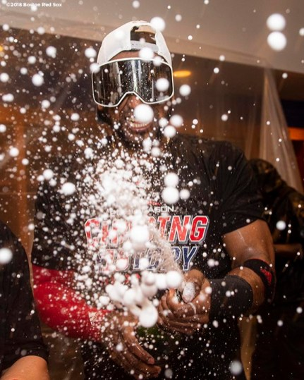 NEW YORK, NY - OCTOBER 9: Eduardo Nunez #36 of the Boston Red Sox celebrates with champagne in the clubhouse after clinching the American League Division Series in game four against the New York Yankees on October 9, 2018 at Yankee Stadium in the Bronx borough of New York City. (Photo by Billie Weiss/Boston Red Sox/Getty Images) *** Local Caption *** Eduardo Nunez