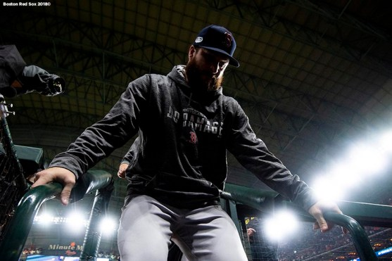 HOUSTON, TX - OCTOBER 18: Ryan Brasier #70 of the Boston Red Sox walks into the dugout before game five of the American League Championship Series against the Houston Astros on October 18, 2018 at Minute Maid Park in Houston, Texas. (Photo by Billie Weiss/Boston Red Sox/Getty Images) *** Local Caption *** Ryan Brasier
