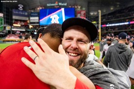 HOUSTON, TX - OCTOBER 18: Dustin Pedroia #15 and Eduardo Rodriguez #52 of the Boston Red Sox celebrate after clinching the American League Championship Series in game five against the Houston Astros on October 18, 2018 at Minute Maid Park in Houston, Texas. (Photo by Billie Weiss/Boston Red Sox/Getty Images) *** Local Caption *** Dustin Pedroia; Eduardo Rodriguez