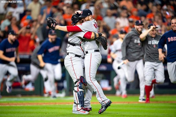 HOUSTON, TX - OCTOBER 18: Craig Kimbrel #46 of the Boston Red Sox celebrates with Sandy Leon #3 as the Boston Red Sox clinch the American League Championship Series in game five against the Houston Astros on October 18, 2018 at Minute Maid Park in Houston, Texas. (Photo by Billie Weiss/Boston Red Sox/Getty Images) *** Local Caption *** Craig Kimbrel; Sandy Leon