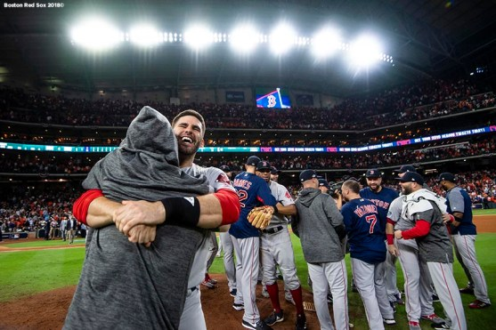HOUSTON, TX - OCTOBER 18: J.D. Martinez #28 of the Boston Red Sox celebrates after clinching the American League Championship Series in game five against the Houston Astros on October 18, 2018 at Minute Maid Park in Houston, Texas. (Photo by Billie Weiss/Boston Red Sox/Getty Images) *** Local Caption *** J.D. Martinez