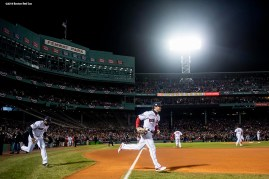 BOSTON, MA - OCTOBER 24: Jackie Bradley Jr. #19 and Andrew Benintendi #16 of the Boston Red Sox run onto the field before game two of the 2018 World Series against the Los Angeles Dodgers on October 23, 2018 at Fenway Park in Boston, Massachusetts. (Photo by Billie Weiss/Boston Red Sox/Getty Images) *** Local Caption *** Jackie Bradley Jr.; Andrew Benintendi