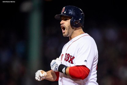 BOSTON, MA - OCTOBER 24: J.D. Martinez #28 of the Boston Red Sox reacts after hitting an RBI single during the fifth inning of game two of the 2018 World Series against the Los Angeles Dodgers on October 23, 2018 at Fenway Park in Boston, Massachusetts. (Photo by Billie Weiss/Boston Red Sox/Getty Images) *** Local Caption *** J.D. Martinez