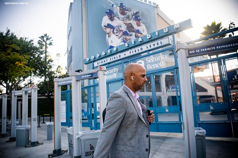 LOS ANGELES, CA - OCTOBER 25: Manager Alex Cora of the Boston Red Sox looks on as he arrives at Dodger Stadium before game three of the 2018 World Series against the Los Angeles Dodgers on October 25, 2018 at Dodger Stadium in Los Angeles, California. (Photo by Billie Weiss/Boston Red Sox/Getty Images) *** Local Caption *** Alex Cora