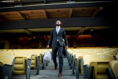 LOS ANGELES, CA - OCTOBER 25: Rick Porcello #22 of the Boston Red Sox walks down the stairs as he arrives at Dodger Stadium before game three of the 2018 World Series against the Los Angeles Dodgers on October 25, 2018 at Dodger Stadium in Los Angeles, California. (Photo by Billie Weiss/Boston Red Sox/Getty Images) *** Local Caption *** Rick Porcello