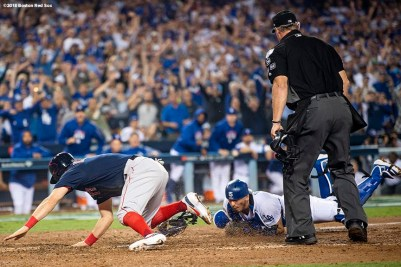 LOS ANGELES, CA - OCTOBER 26: Ian Kinsler #5 of the Boston Red Sox is tagged out at home plate by Austin Barnes #15 of the Los Angeles Dodgers on a throw from Cody Bellinger (not pictured) #35 during the tenth inning in Game Three of the 2018 World Series at Dodger Stadium on October 26, 2018 in Los Angeles, California. (Photo by Billie Weiss/Boston Red Sox/Getty Images) *** Local Caption *** Ian Kinsler; Austin Barnes