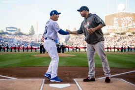 LOS ANGELES, CA - OCTOBER 26: Manager Dave Roberts of the Los Angeles Dodgers shakes hands with manager Alex Cora of the Boston Red Sox before game three of the 2018 World Series on October 26, 2018 at Dodger Stadium in Los Angeles, California. (Photo by Billie Weiss/Boston Red Sox/Getty Images) *** Local Caption *** Dave Roberts; Alex Cora