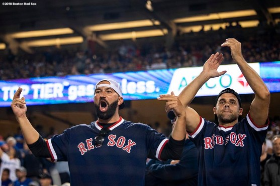 LOS ANGELES, CA - OCTOBER 27: Fans of the Boston Red Sox cheer during game four of the 2018 World Series against the Los Angeles Dodgers on October 27, 2018 at Dodger Stadium in Los Angeles, California. (Photo by Billie Weiss/Boston Red Sox/Getty Images) *** Local Caption ***
